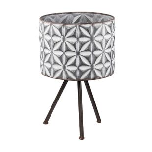 Large Round Planters on Stands - Gray, White - Set of Two