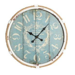 Turquoise Coastal Metal Wall Clock