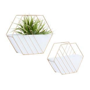 Set of 2 White Contemporary Planter