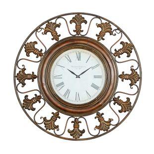 Antique Style Wall Clock With Fleur De Lis Design