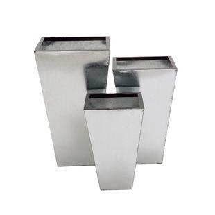 Set of 3 Silver Tin Contemporary Planter