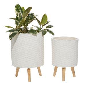 Set of 2 White Polystone Contemporary Planter