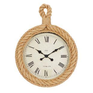 Beige Coastal Wood Wall Clock
