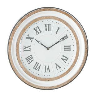 White Farmhouse Metal Wall Clock
