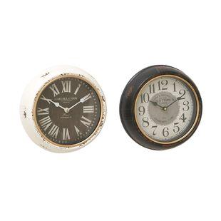 Set of 2 White Metal Vintage Wall Clock