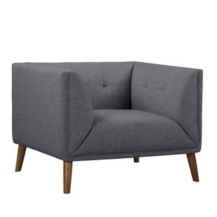 Hudson Mid-Century Button-Tufted Chair in Dark Grey Linen and Walnut Legs