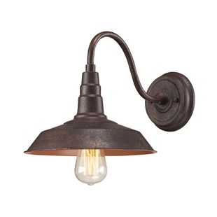 Urban Lodge 1-Light Wall Lamp in Weathered Bronze with Matching Shade