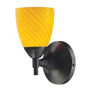 Celina 1-Light Wall Lamp In Dark Rust With Canary Glass
