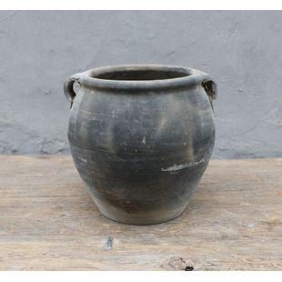"10"" Vintage black pottery jar large with two handles Medium (size & finish vary)"