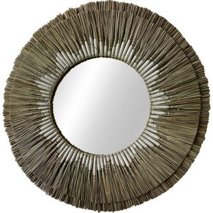 Straw Mirror with White Thread Large