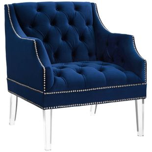 Proverbial Tufted Button Accent Performance Velvet Armchair