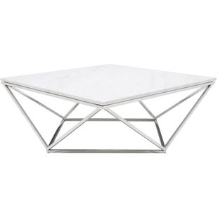 Jasmine Coffee Table With Stone In White