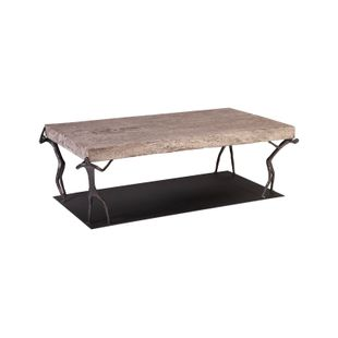 Atlas Coffee Table, Chamcha Wood, Gray Stone Finish, Metal