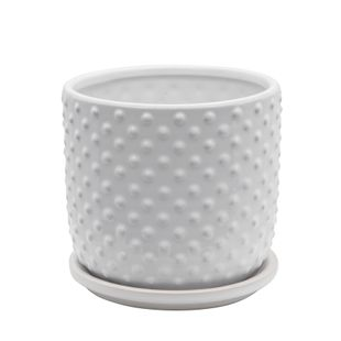 """6"""" Tiny Dots Planter With Saucer, White"""