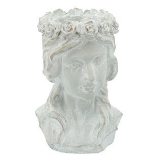 "Resin, 10"" Lady Flower Head Planter, Antique White"