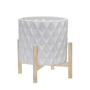 "12"" Ceramic Diamond Planter With Wood Stand, White"