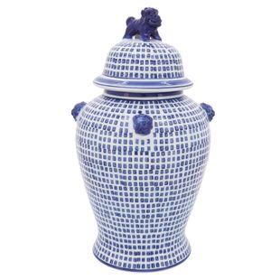 """Cer, 18""""h Mosaic Temple Jar, Blue"""