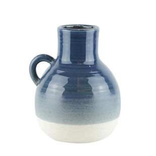 "Ceramic 8.5"" Jug, Navy/White"