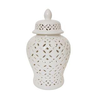 "17"" Cut-out Daisies Temple Jar, White"
