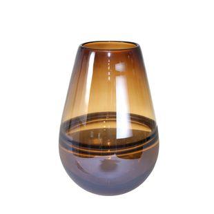 "Glass, 11"" Handmade Oval Vase, Brown"