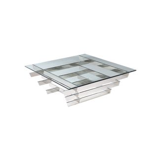 Aura Coffee Table, Square Clear Glass, Stainless Steel Base
